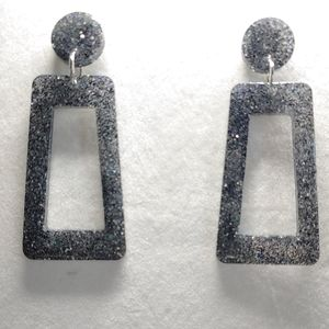 Earrings Black and Silver Glitter